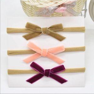 Other - Brand New Set of 3 Baby Velvet Bow Headbands 0-24M